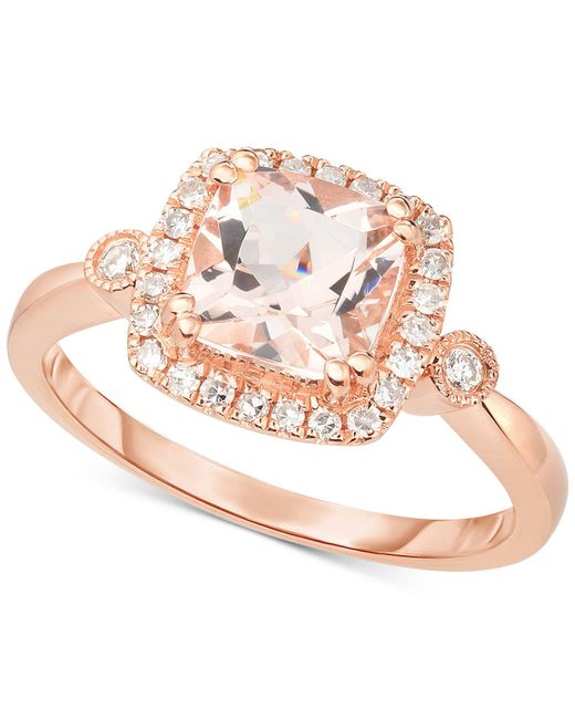Macy's - Metallic Morganite (1-1/3 Ct. T.w.) & Diamond (1/5 Ct. T.w.) Halo Ring In 14k Rose Gold - Lyst