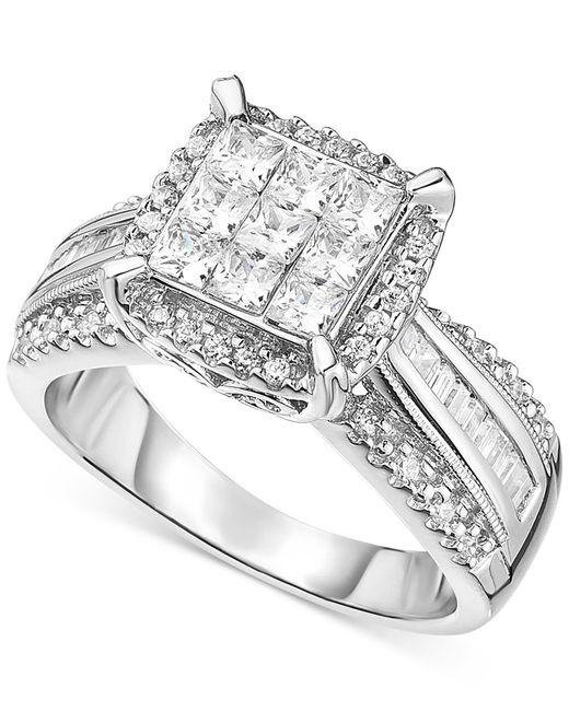 Macy's | Metallic Diamond Halo Engagement Ring In 14k White Gold (2 Ct. T.w.) | Lyst
