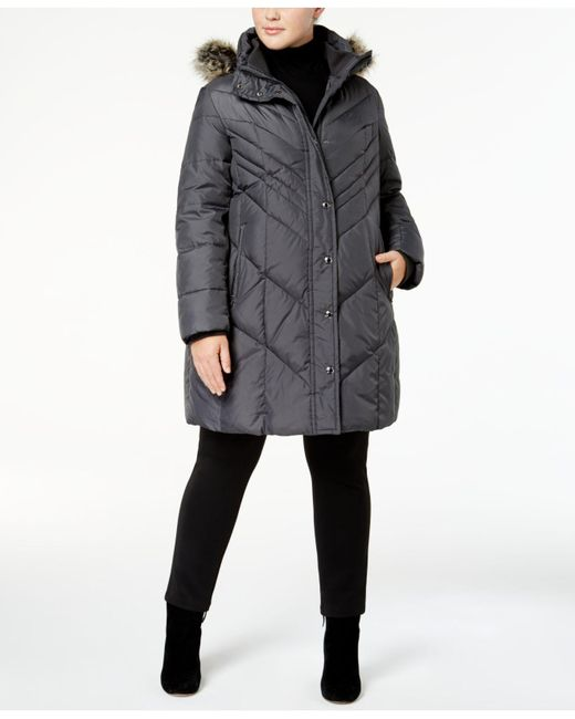 London Fog | Gray Plus Size Faux-fur-trim Down Puffer Coat | Lyst