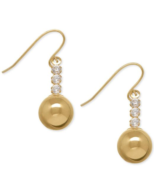 Macy's - Metallic Cubic Zirconia Ball Drop Earrings In 10k Gold - Lyst