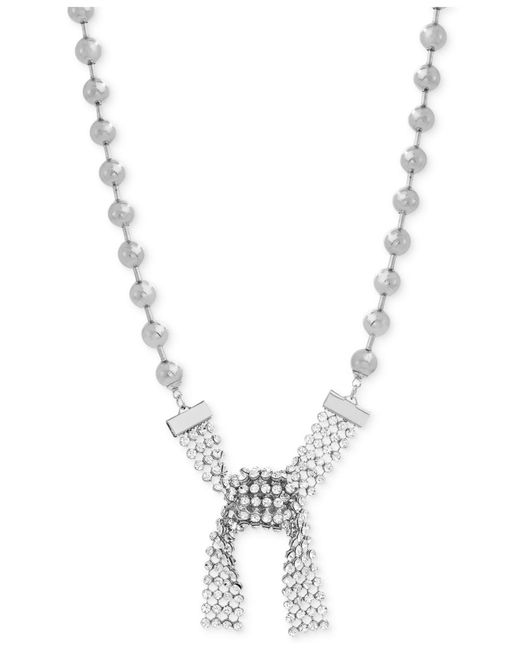 "Steve Madden - Metallic Silver-tone Beaded Crystal Tie Collar Necklace, 16"" + 3"" Extender - Lyst"