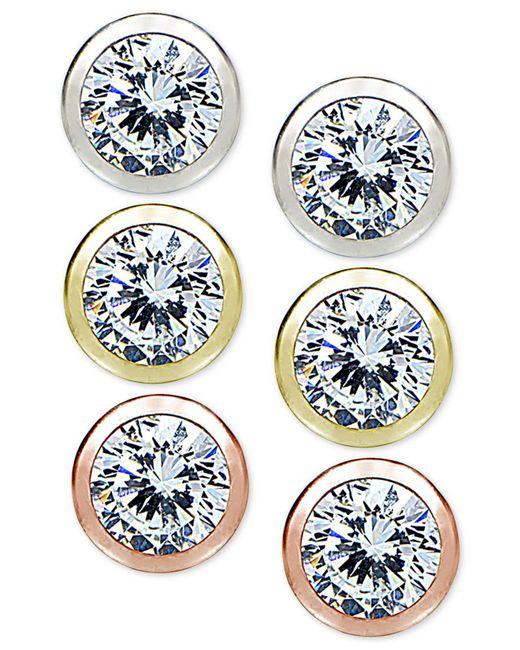 Giani Bernini | Blue 3-pc. Set Cubic Zirconia Bezel Stud Earrings In Sterling Silver, 18k Gold-plated And 18k Rose Gold-plated Sterling Silver | Lyst