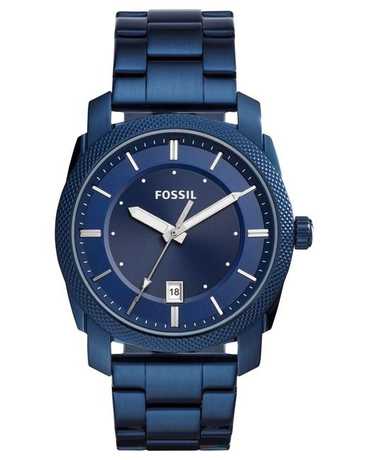 Fossil | Men's Machine Blue Stainless Steel Bracelet Watch 42mm Fs5231 for Men | Lyst