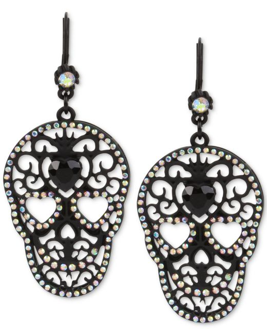 Betsey Johnson | Black-tone Filigree Skull And Crystal Drop Earrings | Lyst