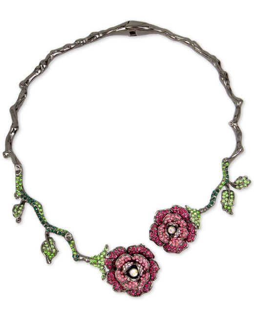 Betsey Johnson | Pink Hematite-tone Pave Glitter Rose And Vine Hinged Collar Necklace | Lyst