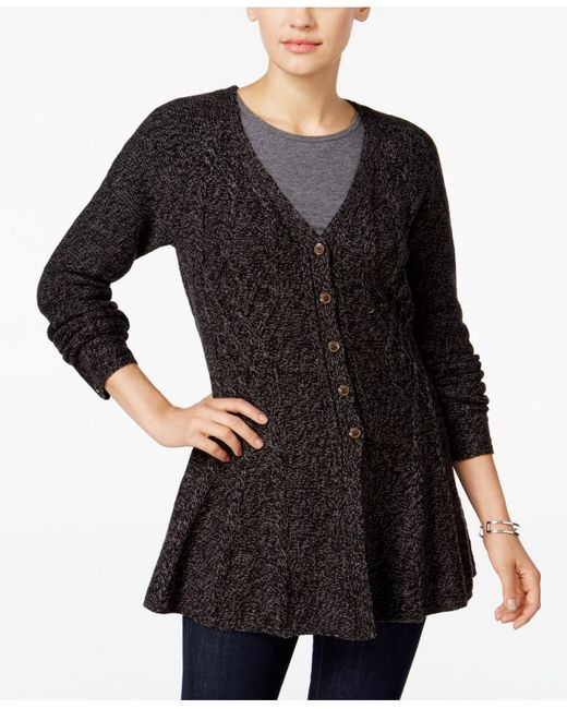 Style & Co. | Black . Plus Size Melange-knit Poncho, Only At Macy's | Lyst