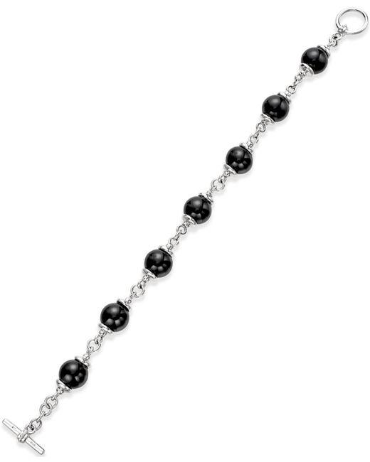 Macy's | Metallic Onyx (10mm) Beaded Bracelet In Sterling Silver | Lyst