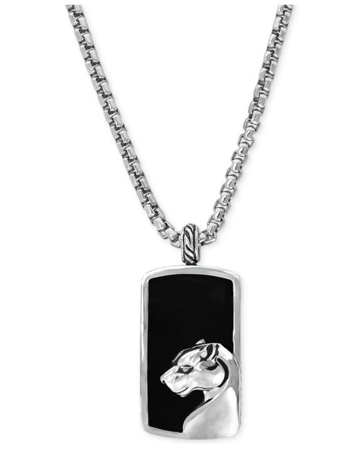 Effy Collection | Metallic Men's Onyx Panther Pendant Necklace In Sterling Silver for Men | Lyst