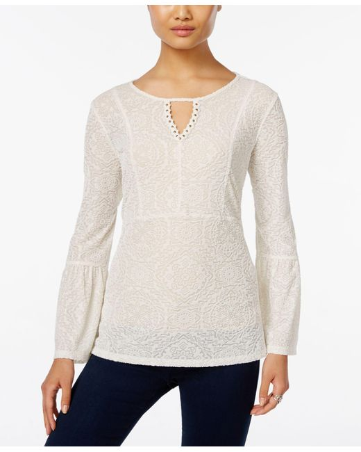 Style & Co. | White Velvet Patterned Keyhole Top, Only At Macy's | Lyst