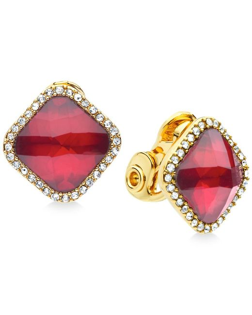 Anne Klein   Metallic Gold-tone Crystal Clip-on Earrings   Lyst