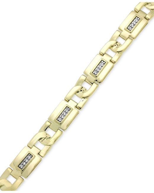 Macy's | Metallic Men's Diamond Link Bracelet (1/5 Ct. T.w.) In 10k Gold for Men | Lyst