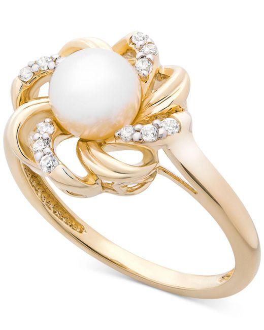 Macy's - Metallic Cultured Freshwater Pearl (6mm) & Diamond (1/10 Ct. T.w.) Flower Statement Ring In 14k Gold - Lyst