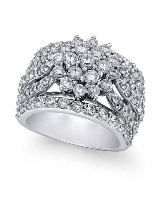 Macy's | Metallic Diamond Wide Floral Cluster Ring (4 Ct. T.w.) In 14k White Gold | Lyst