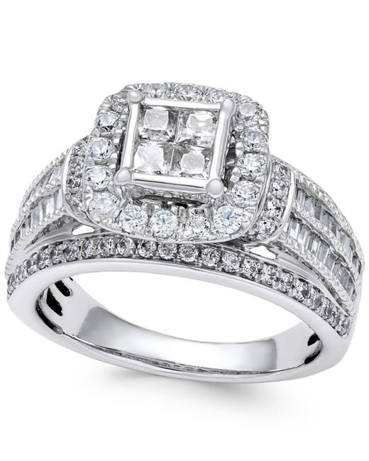 Macy's - Metallic Diamond Quad Cluster Engagement Ring (1-1/2 Ct. T.w.) In 14k White Gold - Lyst