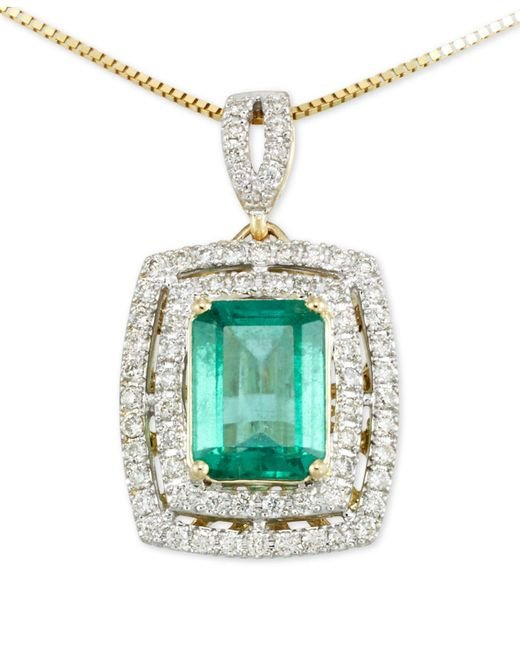 Rare Featuring Gemfields - Metallic Certified Emerald (1-1/5 Ct. T.w.) And Diamond (1/4 Ct. T.w.) Pendant Necklace In 14k Gold - Lyst