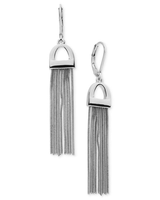 Nine West | Metallic Silver-tone Fringe Drop Earrings | Lyst