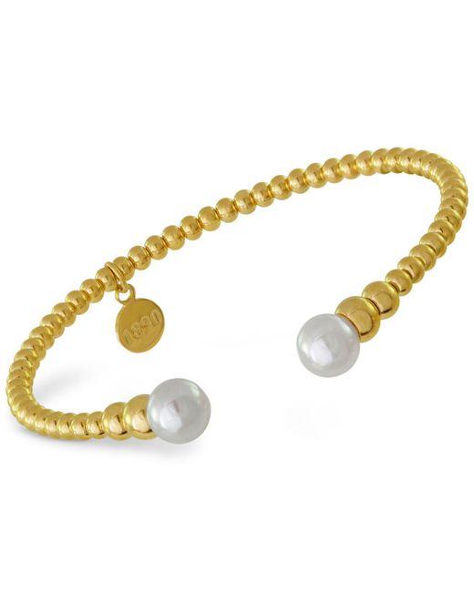 Majorica | Metallic Gold-tone Imitation Pearl Cuff Bracelet | Lyst
