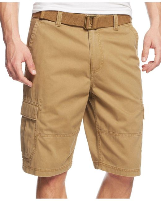American Rag - Natural Belted Relaxed Cargo Shorts for Men - Lyst