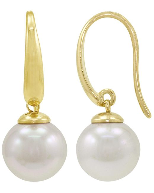 Majorica - White Pearl Earrings, 18k Gold Over Sterling Silver Organic Man Made Pearl Drops - Lyst
