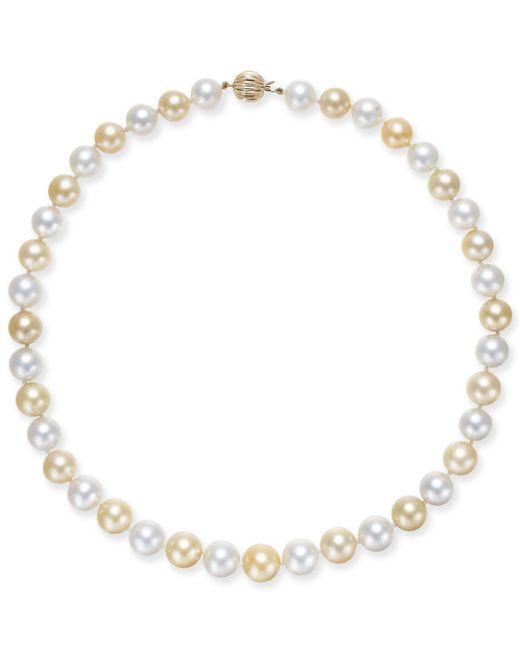 Macy's - Metallic Cultured Golden South Sea Pearl & Cultured White South Sea Pearl (10-12mm) Strand Necklace - Lyst