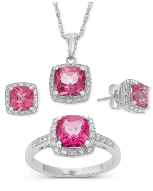 Macy's - Pink Topaz (6-1/5 Ct. T.w.) And Diamond Accent Jewelry Set In Sterling Silver - Lyst