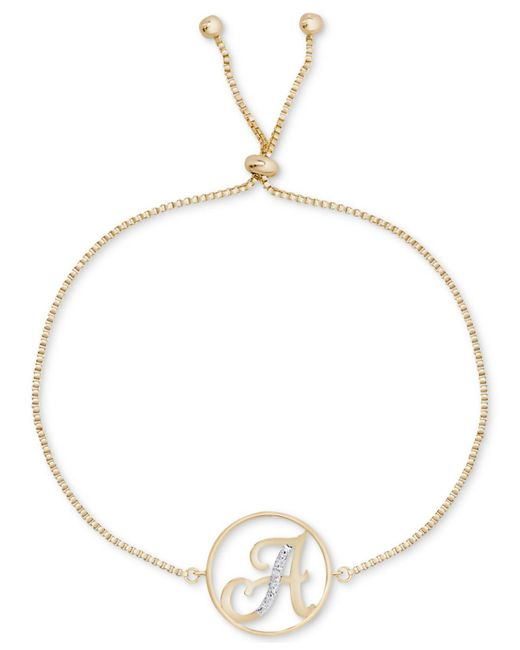 Macy's - Metallic Diamond Accent Initial Bolo Bracelet In 18k Gold-plate - Lyst