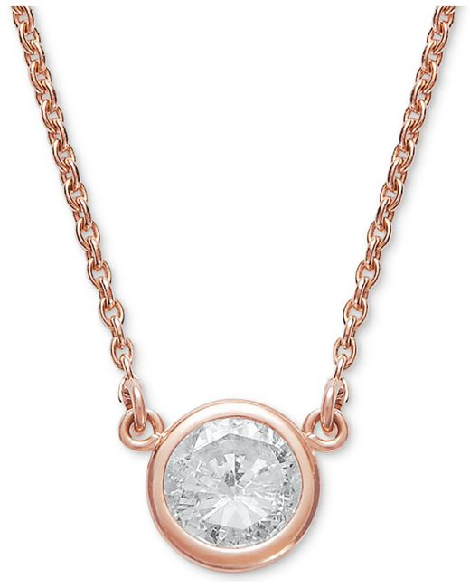 Macy's - Metallic Bezel-set Diamond Pendant Necklace (1/5 Ct. T.w.) In 14k Gold Or White Gold - Lyst