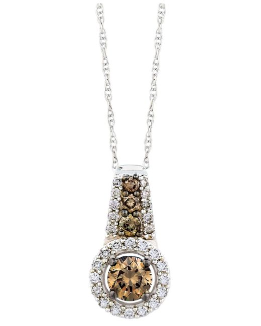 Le Vian - Brown Chocolate And White Diamond Pendant Necklace In 14k White Gold (1/2 Ct. T.w.) - Lyst