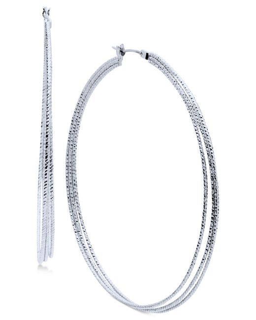 Nine West | Metallic Silver-tone Triple-row Hoop Earrings | Lyst