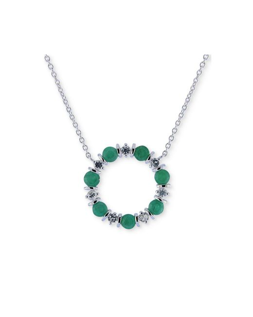 """Macy's - Green Emerald (2 Ct. T.w.) & White Sapphire (3/4 Ct. T.w.) 16"""" Pendant Necklace In Sterling Silver - Lyst"""
