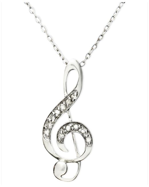Macy's   Metallic Diamond Pendant, Sterling Silver Diamond Music Note (1/10 Ct. T.w.)   Lyst