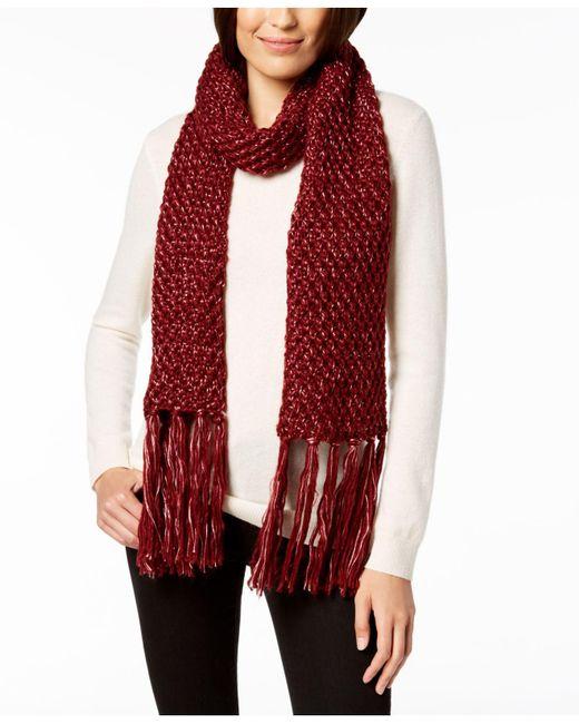 Steve Madden - Red Lurex Knit Tassel Scarf - Lyst