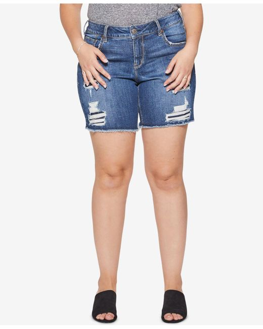 Silver Jeans Co. - Blue Plus Size Sam Distressed Bermuda Shorts - Lyst