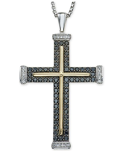 Macy's | Metallic Men's Diamond Two-tone Cross Pendant Necklace (1 Ct. T.w.) In Sterling Silver And 10k Gold for Men | Lyst