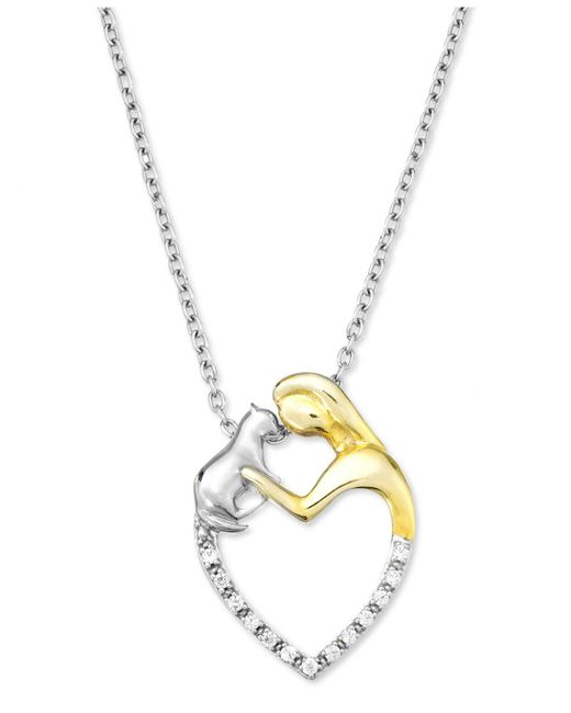 Macy's | Metallic Sterling Silver And 10k Gold-plated Necklace, Diamond Accent Woman And Cat Heart Pendant | Lyst