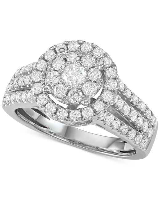 Macy's - Metallic Diamond Halo Cluster Engagement Ring (1-1/2 Ct. T.w.) In 14k White Gold - Lyst