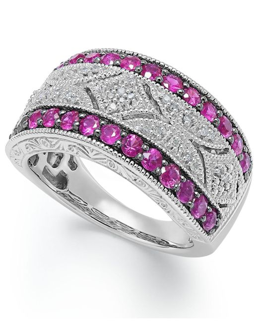 Macy's - Gray Ruby (5/8 Ct. T.w.) And Diamond Accent Antique Band In Sterling Silver - Lyst