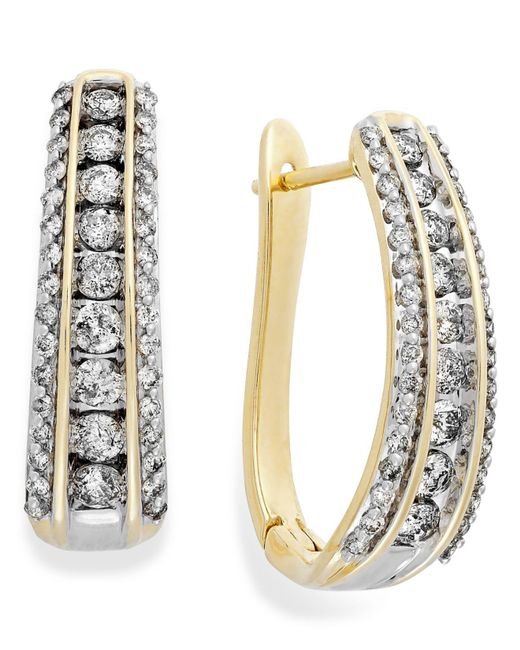 Macy's | Metallic Diamond Channel J-hoop Earrings In 14k White Gold (1 Ct. T.w.) | Lyst