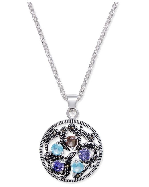 Macy's | Metallic Marcasite & Crystal Vine Disc Pendant Necklace In Fine Silver-plate | Lyst
