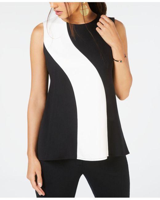 Alfani - Black Petite Colorblocked Top, Created For Macy's - Lyst