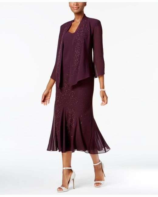 R & M Richards - Purple Dress And Jacket, Embellished Chiffon - Lyst