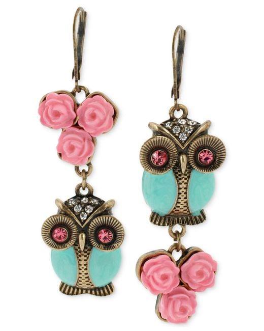 Betsey Johnson | Pink Gold-tone Owl Mismatch Earrings | Lyst