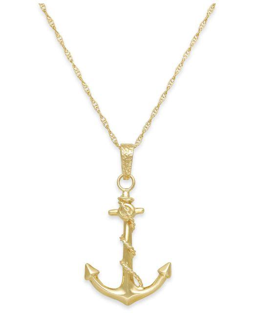 Macy's - Metallic Men's Anchor Pendant Necklace In 10k Gold for Men - Lyst