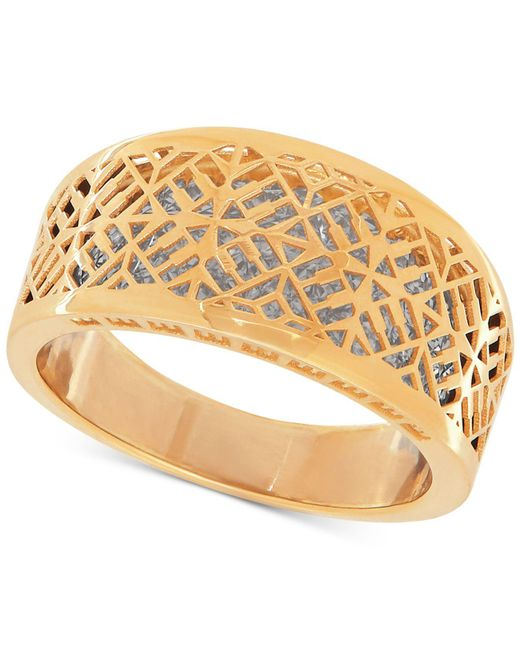 Macy's - Metallic Two-tone Web Overlay Ring In 14k Gold And Rhodium-plate - Lyst