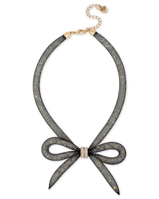 Betsey Johnson - Black Mesh Bow Collar Necklace - Lyst