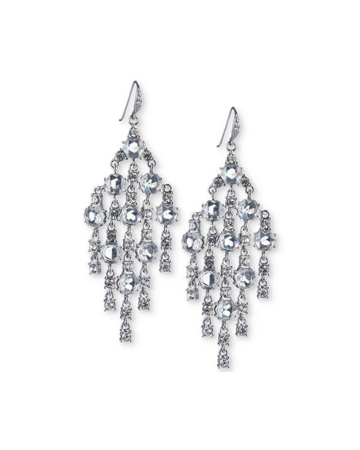 Carolee | White Silver-tone Crystal Chandelier Earrings | Lyst