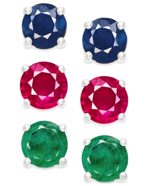 Macy's | Metallic Sapphire, Ruby And Diamond Stud Earring Set In Sterling Silver (3 Ct. T.w.) | Lyst