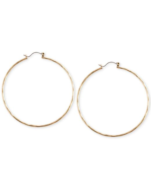 Lucky Brand - Metallic Big Hammered Hoop Earrings - Lyst