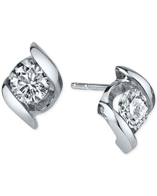Sirena - Metallic Diamond Twist Stud Earrings (1/4 Ct. T.w.) In 14k White Gold - Lyst