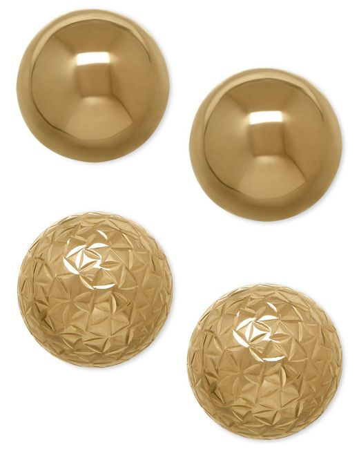 Macy's - Brown Ball Stud Earring Set In 10k Gold - Lyst